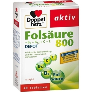 DOPPELHERZ Folsäure 800+B-Vitamine Tabletten 40 St.
