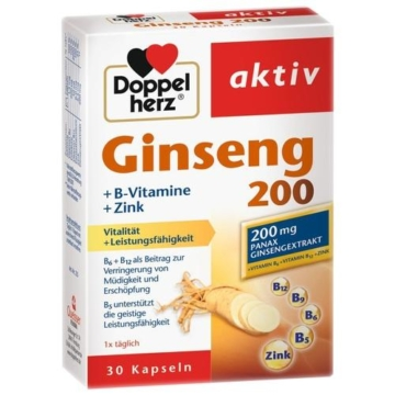 DOPPELHERZ Ginseng 200+B-Vitamine+Zink Kapseln 30 St.