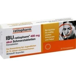 IBU-RATIOPHARM 400 mg akut Schmerztbl.Filmtabl. 20 St.